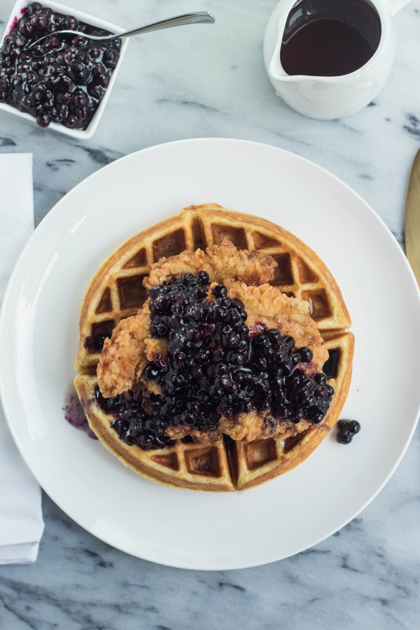Chicken and Cheddar Waffles with Blueberries
