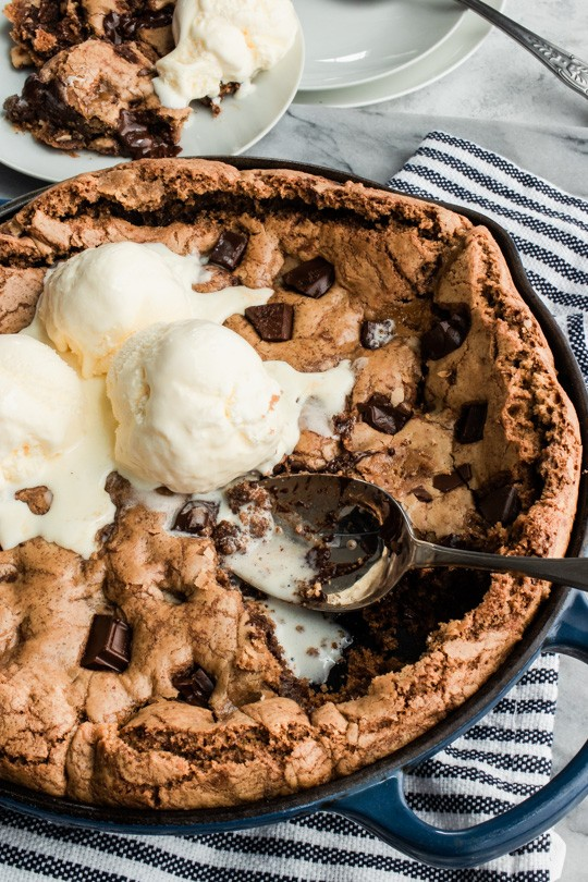 Toffee Chocolate Chunk Skillet Cookie