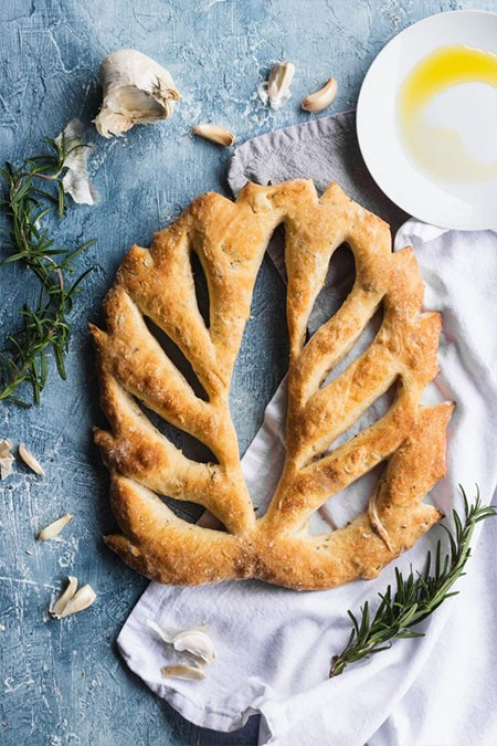 A leaf shaped, decorative fougasse flatbread