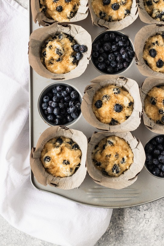 Press extra blueberries into the tops of your muffins to make them extra pretty! || Good Things Baking Co.