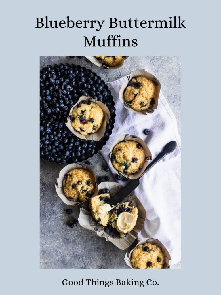 Blueberry Buttermilk Muffins- Buttermilk gives these delicately sweet muffins an added depth of flavor. || Good Things Baking Co. #goodthingsbaking #blueberrymuffins #muffinrecipe #muffins #easybreakfastidea #brunchrecipe