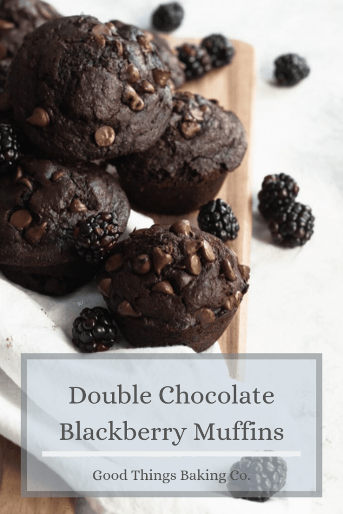 Double Chocolate Blackberry Muffins are rich, decadent, and bursting with berry goodness. Use dark cocoa powder and dark chocolate for an extra deep chocolate flavor || Good Things Baking Co. #goodthingsbaking #muffins #muffinrecipe #breakfast #chocolatemuffins #brunch