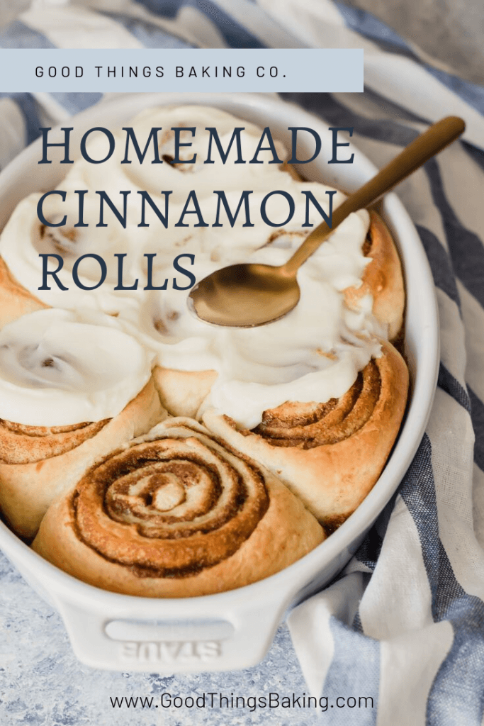 They're light, fluffy, and incredibly soft with a perfectly sweet, spicy, and buttery filling. These homemade cinnamon rolls really are the best! || Good Things Baking Co. #goodthingsbaking #cinnamonrolls #brunchrecipes #sweetrolls #breakfastideas #holidaybaking #holidaybreakfast