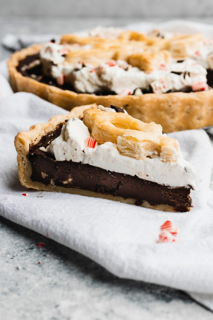 A slice of fudgy, rich Peppermint Chocolate Pie