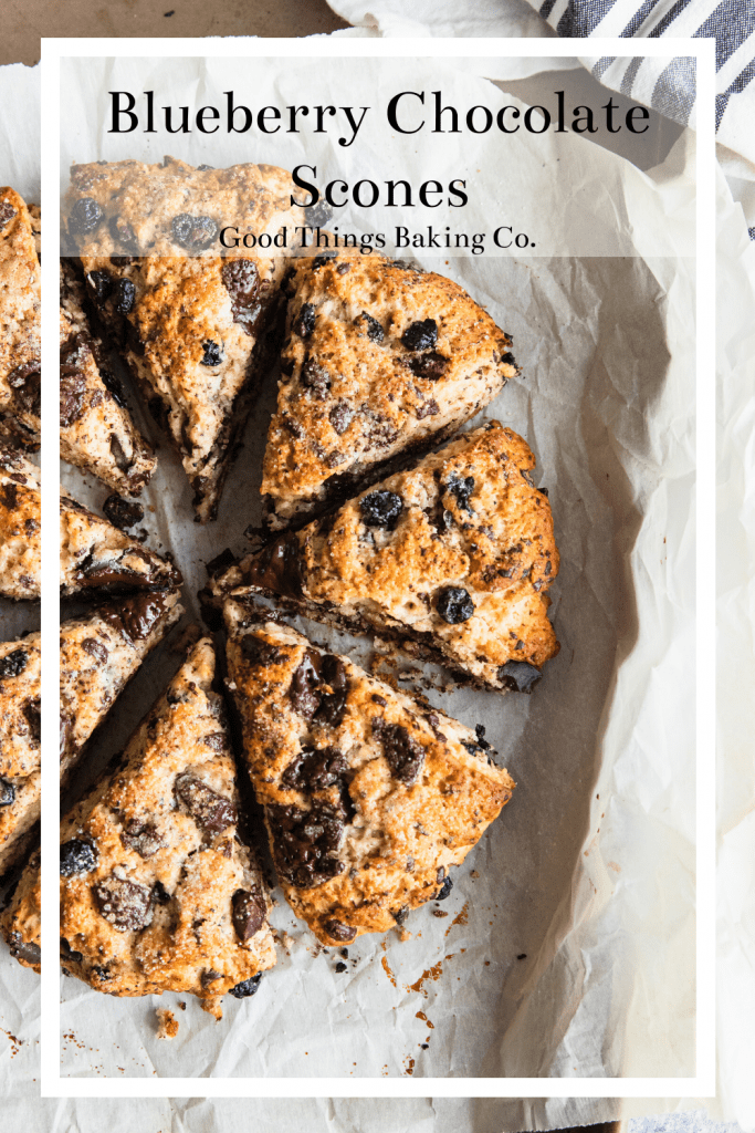 Blueberry Chocolate Scones wedges baked to golden brown perfection