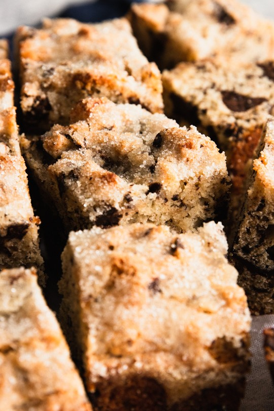 Chocolate Chunk Snack Cake with a crusty sugar topping.