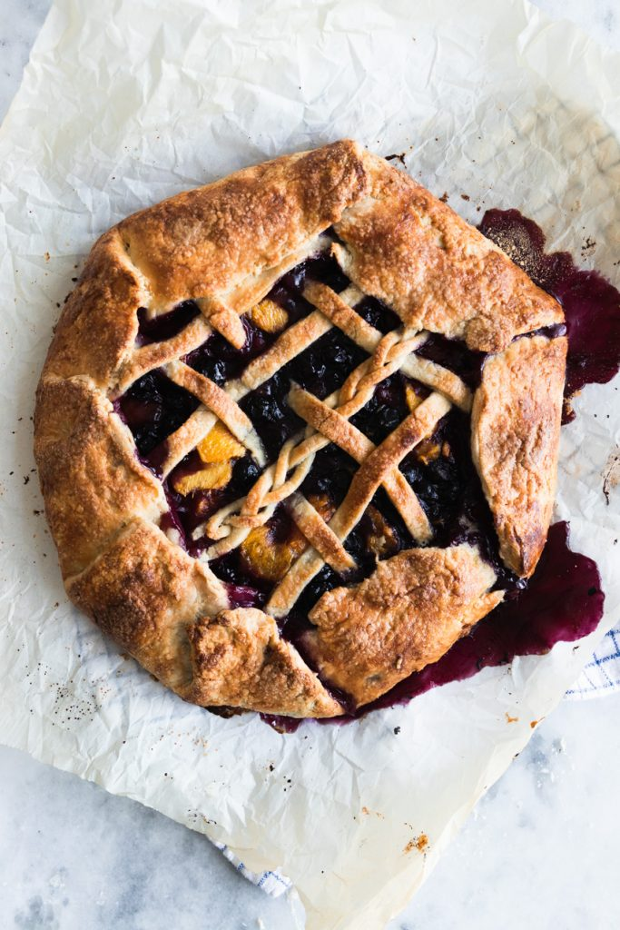 Blueberry Peach Galette with a Lattice Top