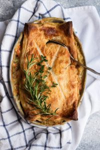 Puff Pastry Chicken Pot Pie with a crisp, golden top and hot, creamy filling