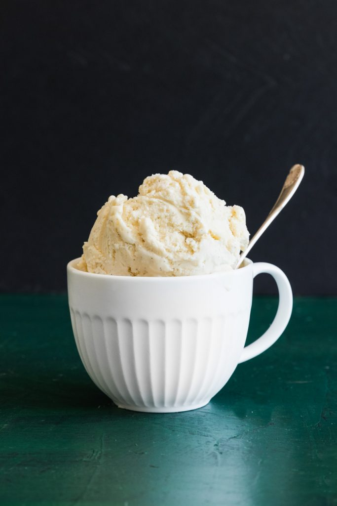 Homemade Vanilla Bean Ice Cream in a mug