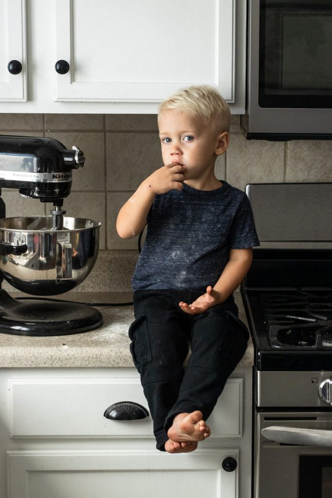 Allowing chocolate snitching is one tip for baking with kids. They'll love you forever!