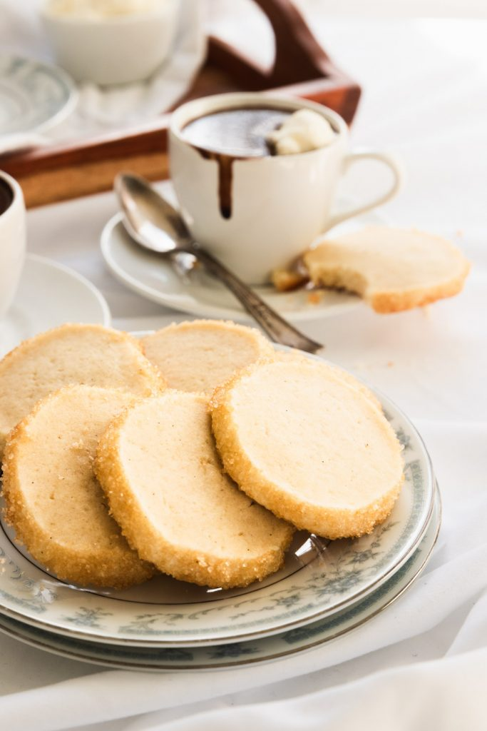 A plate of vanilla sable cookies