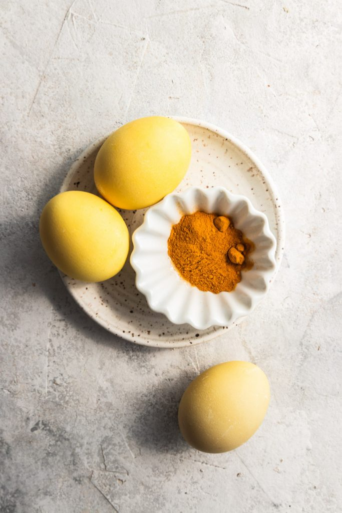 Yellow Easter eggs dyed with turmeric.