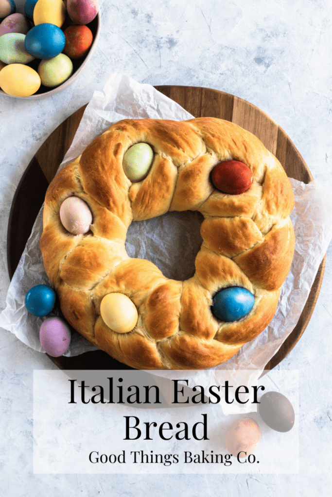 Slices of Pane di Pasqua, a braid circle loaf decorated on top with dyed Easter eggs.