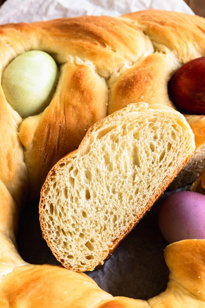 A tender, soft slice of Pane di Pasqua